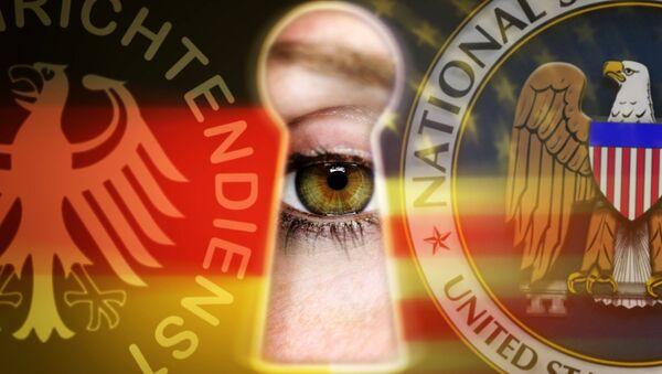 Глаз, смотрящий в замочную скважину с символикой BND и NSA - Sputnik France