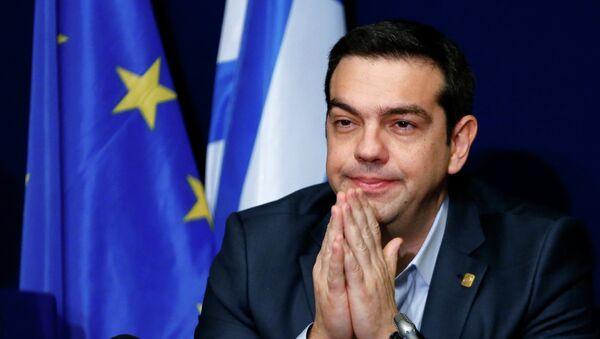 Le Premier ministre grec Alexis Tsipras donne une conférence de presse le 12 février 2015 à Bruxelles - Sputnik France
