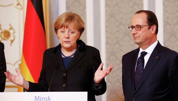 Canciller de Alemania Angela Merkel y presidente de Francia, François Hollande - Sputnik France