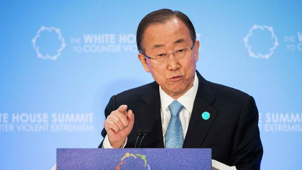 United Nations Secretary General Ban Ki-moon speaks during the White House Summit on Countering Violent Extremism Foreign Fighter Ministerial at the State Department in Washington February 19, 2015. - Sputnik France