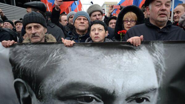 Траурный марш в память о политике Б.Немцове в Москве - Sputnik France