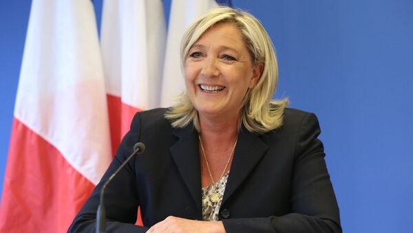 PRESS CONFERENCE GIVEN BY MARINE LE PEN AT THE 'FRONT NATIONAL' HEADQUARTERs. - Sputnik France