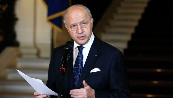 French Foreign Affairs Minister Laurent Fabius speaks after a meeting with Foreign affairs ministers of Ukraine, Russia and Germany, February 24, 2015 - Sputnik France