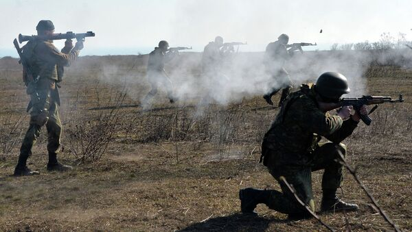Fighters of Ukrainian volonteer Azov battalion take part in military exercises not far southeastern Ukrainian city of Mariupol, on February 27, 2015 - Sputnik France