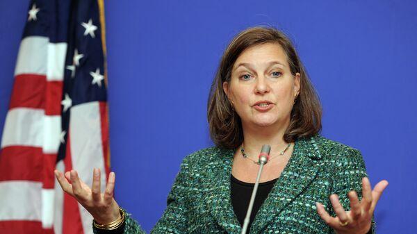 Secrétaire d'État assistante pour l'Europe et l'Eurasie Victoria Nuland lors d'une conférence de presse en Géorgie, février 2015 - Sputnik France