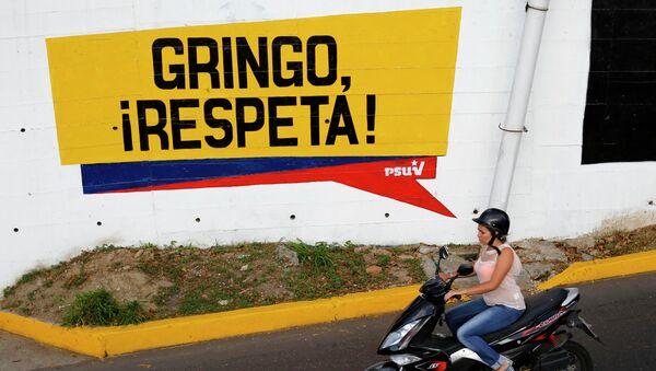 Graffti which reads, 'Gringo, respect us!' in Caracas March 9, 2015 - Sputnik France