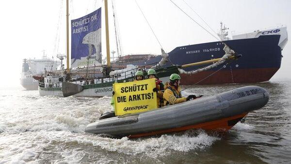 Protesta de Greenpeace en el puerto alemán de Hamburgo - Sputnik France