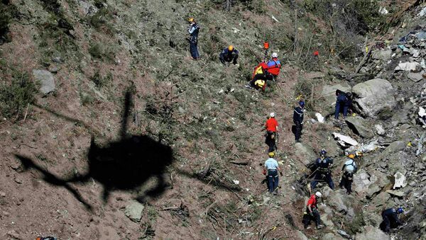French gendarmes and investigators work amongst the debris of the Airbus A320 at the site of the crash, near Seyne-les-Alpes, French Alps March 26, 2015 - Sputnik France