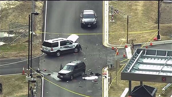 An aerial view of a shooting scene at the National Security Agency at Fort Meade in Maryland is pictured in this still image take from video, March 30, 2015. - Sputnik France