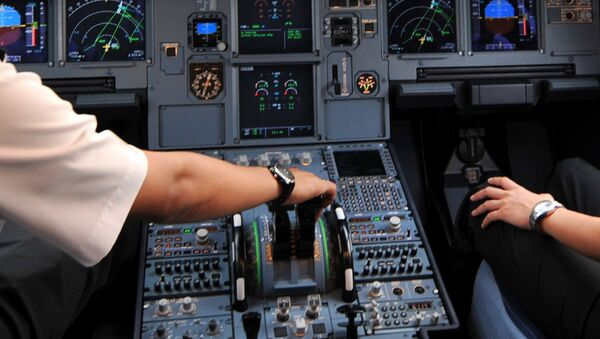 Pilots in the cockpit of an Airbus A320 at Cengkareng airport in Jakarta. File photo - Sputnik France