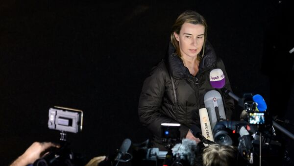 EU High Representative for Foreign Affairs and Security Policy Federica Mogherini delivers a statment to journalists upon her arrival to attend nuclear talks in Lausanne on March 28, 2015. - Sputnik France