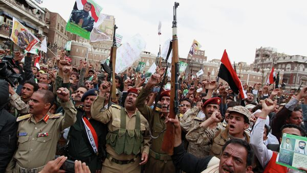 Shiite rebels, known as Houthis, gather to protest against Saudi-led airstrikes, during a rally in Sanaa, Yemen - Sputnik France