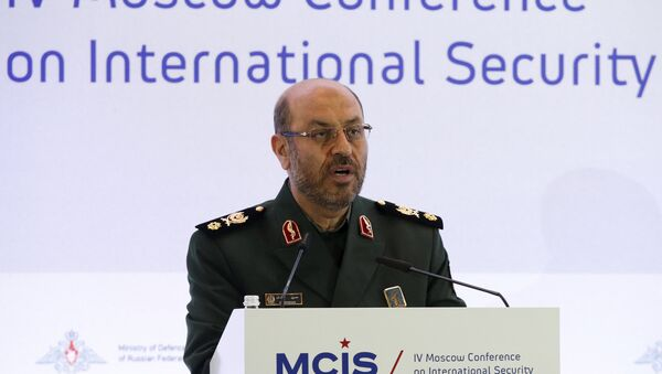 Iranian Defence Minister Hossein Dehghan delivers a speech during the 4th Moscow Conference on International Security (MCIS) in Moscow April 16, 2015. - Sputnik France