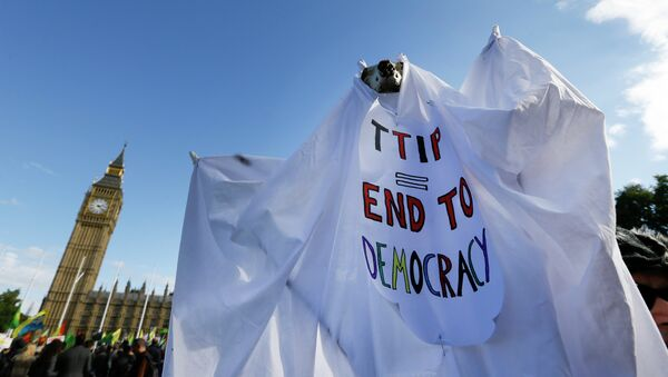 A demonstrator holds a banner in Parliament Square in London, Saturday, Oct. 11, 2014 - Sputnik France