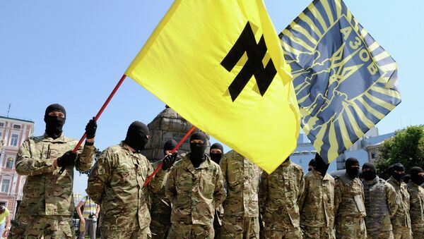 Azov battalion soldiers take oath in Kiev before being sent to Donbass - Sputnik France