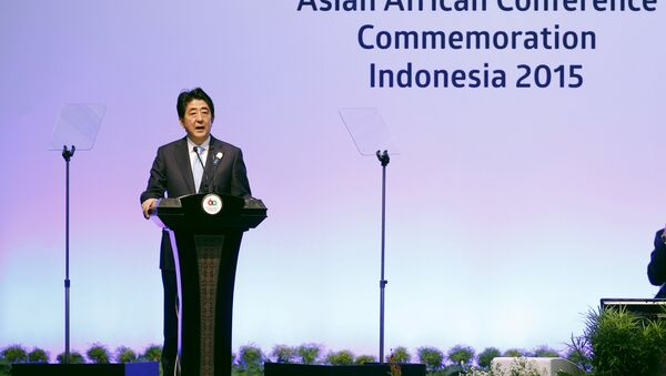 Japan's Prime Minister Shinzo Abe delivers a speech at plenary session during the Asian African Conference in Jakarta April 22, 2015. The 60th Asian-African Conference is held in Jakarta and Bandung from April 19 to 24, 2015. REUTERS/Beawiharta - Sputnik France