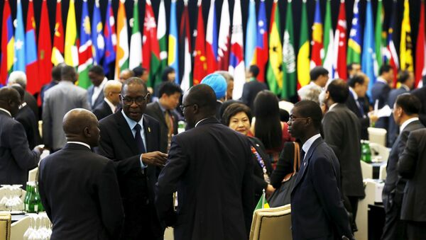 African and Asian delegations gather shortly before the opening ceremony of the Asian African Conference in Jakarta April 22, 2015. The 60th Asian-African Conference is held in Jakarta and Bandung from April 19 to 24, 2015. REUTERS/Beawiharta - Sputnik France