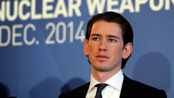 Austria's Minister for Foreign Affairs and Integration Sebastian Kurz speaks at the International conference on the humanitarian impact of nuclear weapons, on December 8, 2014 in Vienna - Sputnik France