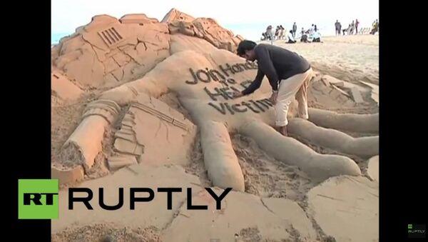 Une sculpture de sable pour aider les sinistrés du Népal - Sputnik France