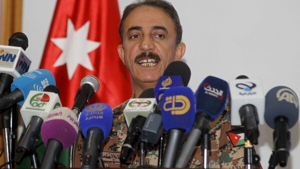 Brigadier Fahad Faleh Al Damen, the Jordanian Director of Training Armed Forces, speaks during a news conference regarding the annual multilateral training exercise Eager Lion, - Sputnik France