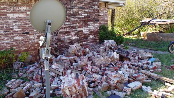 A damage home in central Oklahoma from the magnitude 5.6 earthquake on Nov. 6, 2011. - Sputnik France
