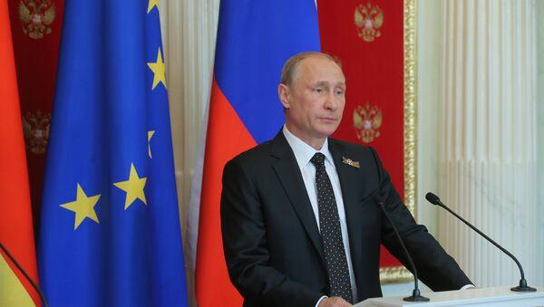 Совместная пресс-конференция президента РФ В.Путина и канцлера Германии А.Меркель - Sputnik France