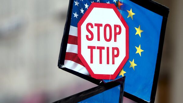 A protester holds signs during a demonstration against the Transatlantic Trade and Investment Partnership (TTIP), a proposed free trade agreement between the European Union and the United States, in Munich April 18, 2015. - Sputnik France