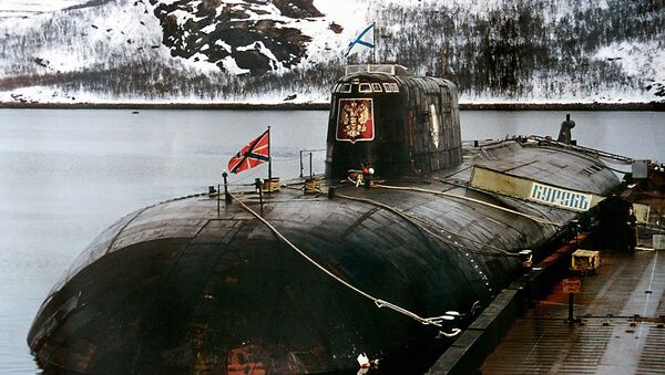 An undated file picture shows the 'Kursk' submarine in the base of Vidyayevo - Sputnik France
