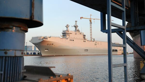 A picture taken on September 7, 2014 in Saint-Nazaire, western France, shows the Vladivostok warship, a Mistral class LHD amphibious vessel ordered by Russia to the STX France shipyard - Sputnik France