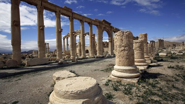 A file picture taken on March 14, 2014 shows a partial view of the ancient oasis city of Palmyra, 215 kilometres northeast of Damascus. Islamic State group fighters advanced to the gates of ancient Palmyra on May 14, 2015 - Sputnik France