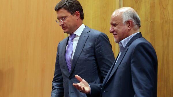Le ministre russe de l'Energie Alexandre Novak et le ministre iranien du Pétrole Bijan Namdar-Zanganeh, septembre 2014. - Sputnik France