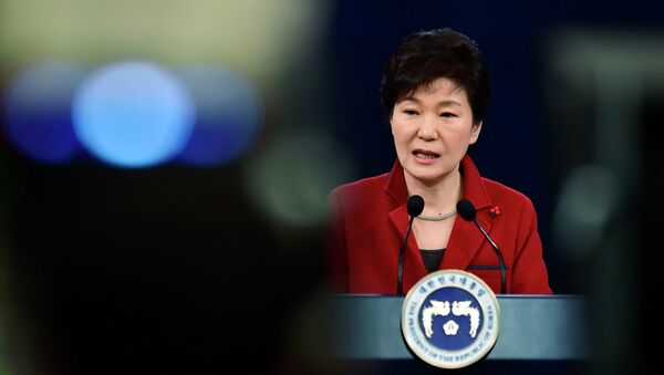 South Korean President Park Geun-Hye speaks during her New Year news conference at the presidential Blue House in Seoul January 12, 2015. - Sputnik France