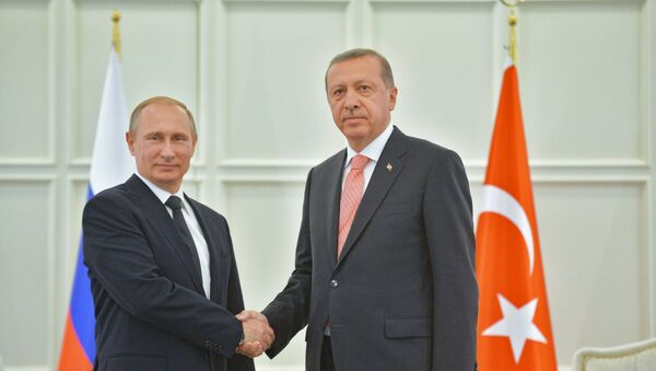 Russian President Vladimir Putin and his Turkish counterpart Recep Tayyip Erdogan - Sputnik France