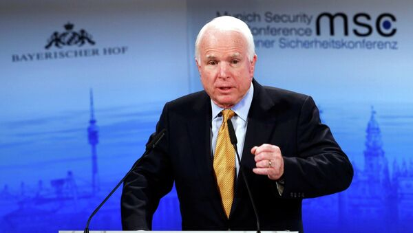 The chair of the Senate Armed Services Committee Senator John McCain addresses during the 51st Munich Security Conference at the 'Bayerischer Hof' hotel in Munich February 8, 2015 - Sputnik France