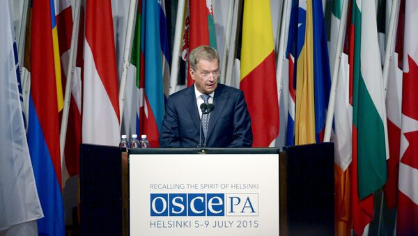 Finnish President Sauli Niinisto speaks at the opening of the 24th Annual Session of the OSCE Parliamentary Assembly in Helsinki, Finland July 6, 2015 - Sputnik France