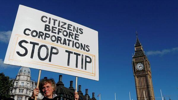 A demonstrator holds a banner in Parliament Square in London, Saturday, Oct. 11, 2014. - Sputnik France