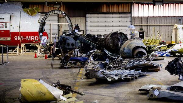 The wreckage of the Malaysia Airlines flight MH17 which was shot down over Ukraine in July 2014, laid out in a hangar on Gilze-Rijen airbase in the southern Netherlands. - Sputnik France