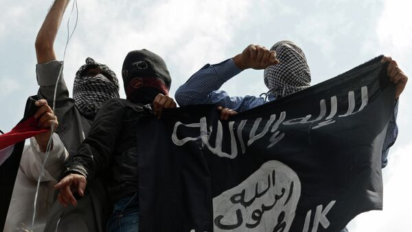 Kashmiri demonstrators hold up a flag of the Islamic State of Iraq and the Levant (ISIL) during a demonstration against Israeli military operations in Gaza - Sputnik France
