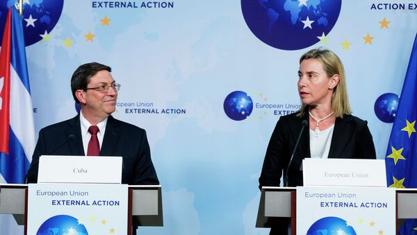 European Union High Representative Federica Mogherini speaks during a media conference with Cuban Foreign Minister Bruno Rodriguez Parrilla after a bilateral meeting at EU headquarters in Brussels - Sputnik France