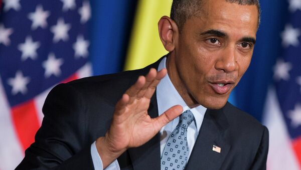 President Barack Obama speaks during a joint news conference with Ethiopian Prime Minister Hailemariam Desalegn, Monday, July 27, 2015, at the National Palace in Addis Ababa - Sputnik France