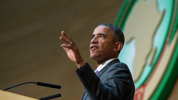 US President Barack Obama delivers a speech to the African Union, Tuesday, July 28, 2015, in Addis Ababa, Ethiopia - Sputnik France