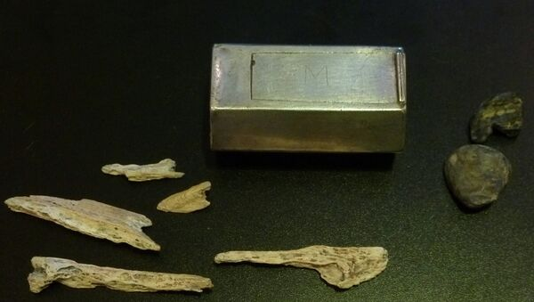 Bones, from one of four of the early leaders of Virginias's Jamestown settlement, are seen near a silver box believed to be a Catholic reliquary resting on top of Capt. Gabriel Archer's coffin - Sputnik France