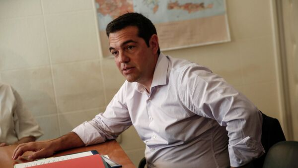 Greece's Prime minister Alexis Tsipras presides over a ministerial meeting regarding the migration crisis in Athens, Friday, Aug. 7, 2015. - Sputnik France