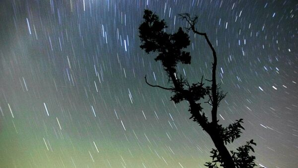 A view of the night sky over Gzhel region, some 80 km east of Moscow shows the star's path created by the earth rotation, early 12 August 2005. - Sputnik France