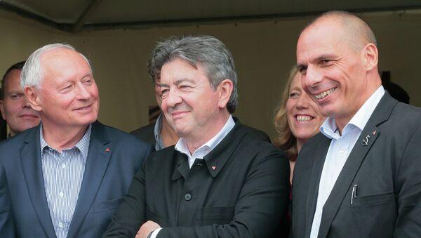 Yannis Varoufakis, Jean-Luc Melenchon et Oskar Lafontaine - Sputnik France