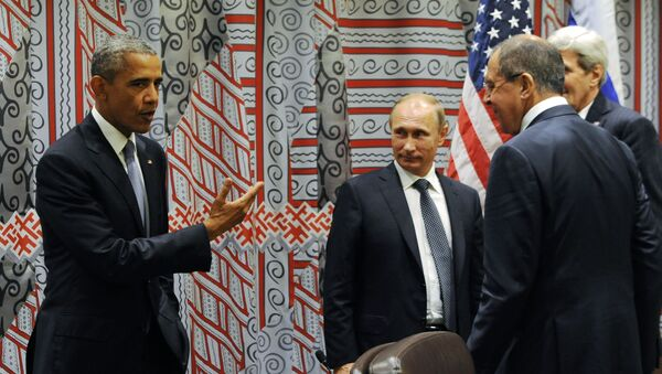 Президент США Барак Обама и президент России Владимир Путин в Нью-Йорке - Sputnik France