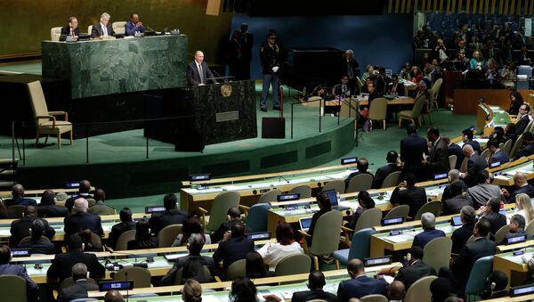 Le président russe Vladimir Poutine intervient à la 70e session de l'Assemblée générale de l'Onu - Sputnik France