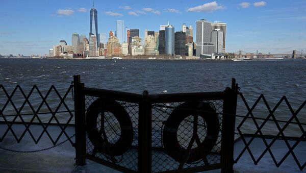 Lower Manhattan appears behind a pair life preservers on a Staten Island Ferry in New York Harbor. - Sputnik France