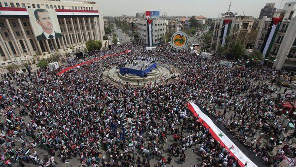 Rassemblement de soutien à Bachar el-Assad à Damas - Sputnik France
