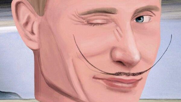 Portrait de Vladimir Poutine lors d'une exposition à Moscou - Sputnik France